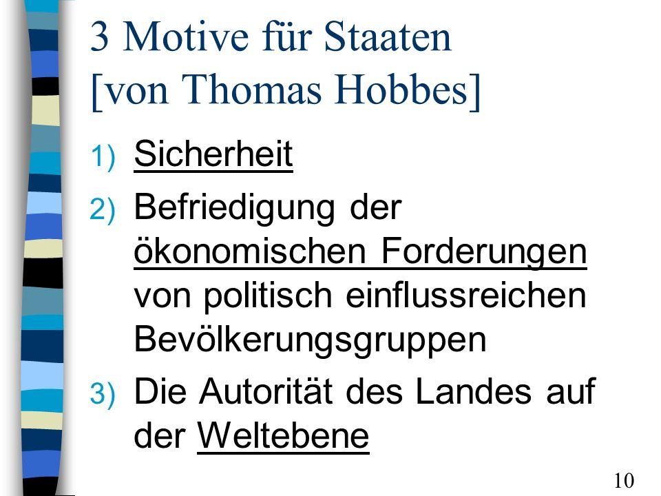 3 Motive für Staaten [von Thomas Hobbes]
